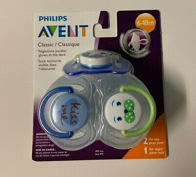 PHILIPS AVENT PACIFIER SOOTHERS - PK OF 3 - 1 NITEGLOW & 2 DAYTIME - 6-18 MONTH