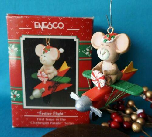 Enesco Ornament 1990 1991 Festive Flight 1st Issue Clothespin Parade Series