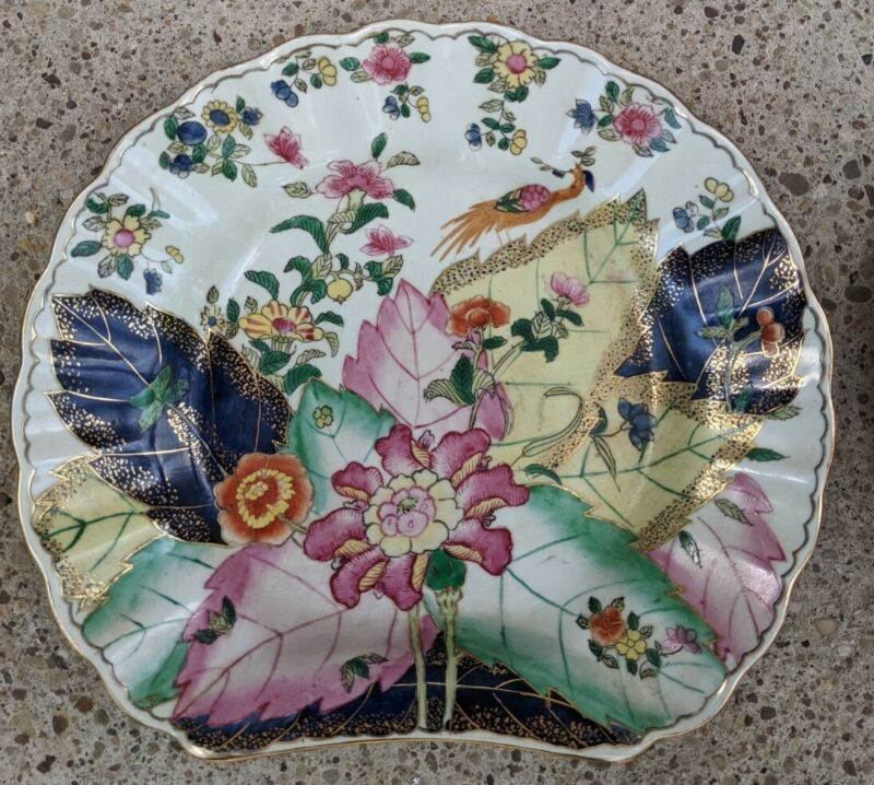 20th C. Pair Chinese Export Tobacco Leaf Dishes Wall Hanging Mottahedah Style