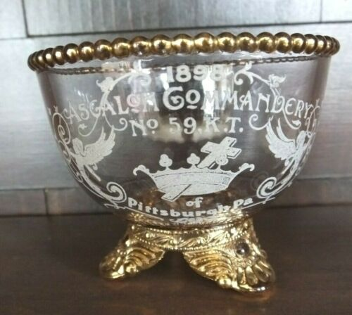 1898 MASONIC ASGALON COMMANDERY PITTSBURGH CUP GLASS
