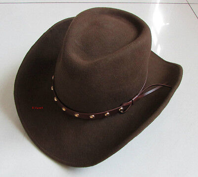 Western 100% WoolFelt Cowboy Shapeable Hat Black/Brown  Men's/Woman's Unisex - Cheap Cowboy Hats For Men