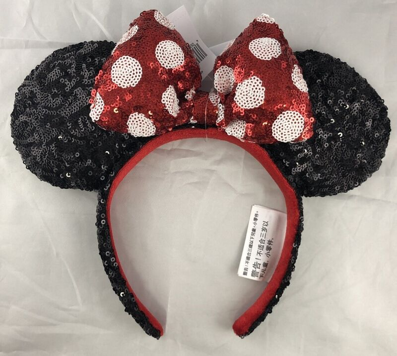 Disney Parks Minnie Mouse Bow Black Red Polka Dot Sequin Ears Headband