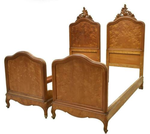 Antique Beds, Pair of Italian Louis XV Style, 19th C., 1800s, Foliate Crest!