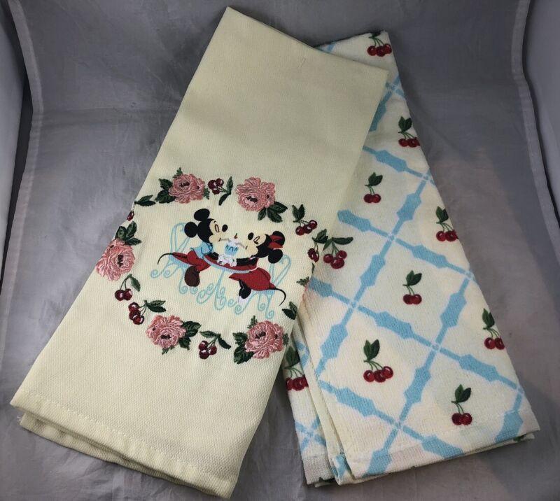 Disney Parks Mickey Minnie Bistro Cherry Floral Kitchen Towel Set of 2 Hand Dish