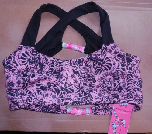 NWT CAPEZIO PINK Reversible Betsey Johnson Girls sizes Bra top crisscross back
