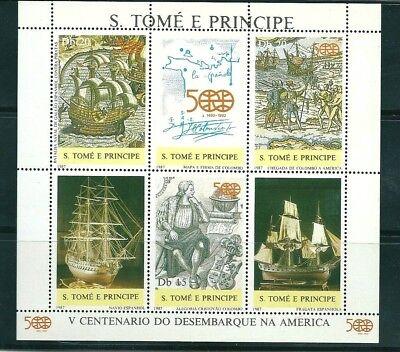 S.TOME E PRINCIPE 1987 MH 884/86 V CENTº DESEMBARQUE AMERICA. DESCUBRIMIENTO
