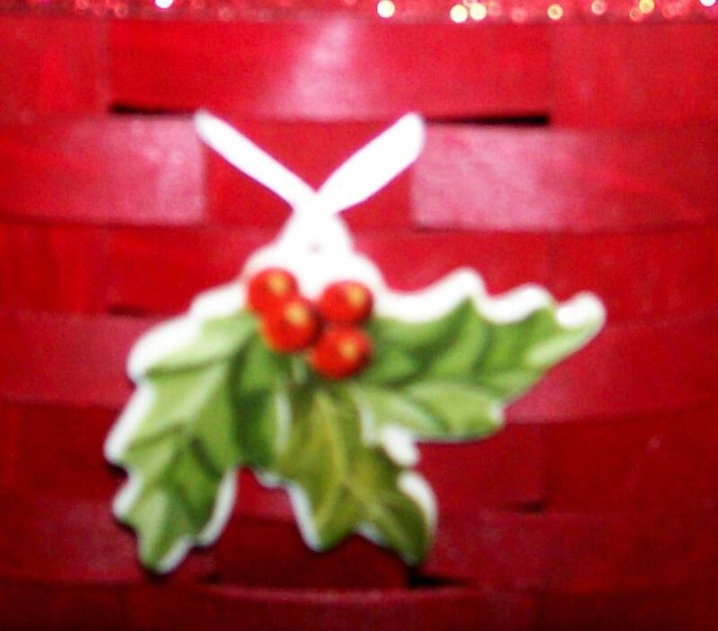 Longaberger Rare Holiday American HOLLY Tie-On -  USA - CUTE!! - NEW - Christmas