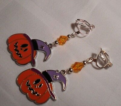 Halloween clip on earrings pumpkin handmade silver plated purple enamel charms