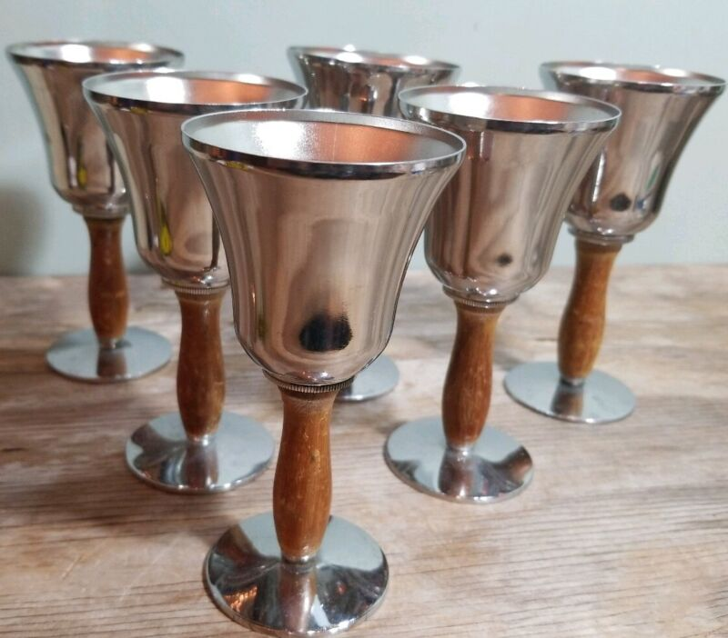 """5"""" Vintage Wine Glass / Goblet Set of 6 Silver With Wooden handles"""