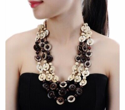 Nataliya Beige Handmade Coconut Shell Wood Statement Necklace