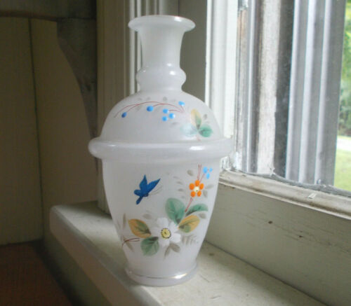 1880s BEAUTIFUL HAND PAINTED BLUEBIRD & FLOWERS FROSTED BRISTOL GLASS COLOGNE