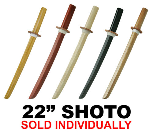 "22"" Shoto Wooden Kenjutsu Sword Black Red White Oak Bamboo Samurai Martial Arts"
