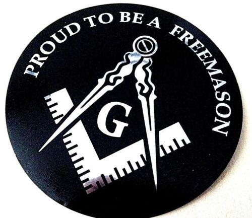 "Masonic Decal Silver 3.5"" Logo FreeMason Car Black laptop Freemasonry Sticker"