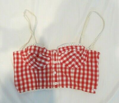 DOLCE & GABBANA red and white checked bustier crop top size 34B