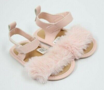 First Steps Baby Girl Pink Furry Sandals Shoes Size 3-6Months