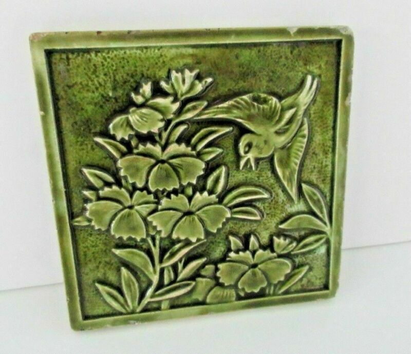 U.S. Encaustic Tile Co Art Pottery Relief Floral & Bird Green Glossy Tile