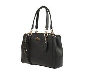 d5d8569dea89 Coach Black Crossgrain Mini Christie Carryall Satchel F57523 Wallet ...
