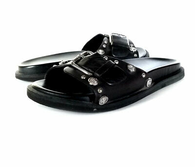 $340 VERSACE 36 Shoes Womens Black Leather Slide Sandals Studded *PRIMO* SZ 6