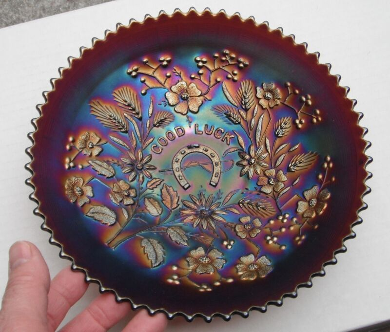 Good Luck Plate--purple..pretty, has chip...old 791-bge...vintage carnival glass