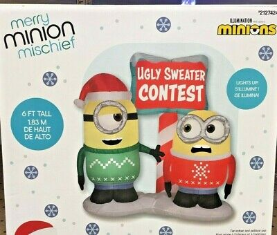 6 Ft Minion Ugly Sweater Contest Christmas Inflatable Minions