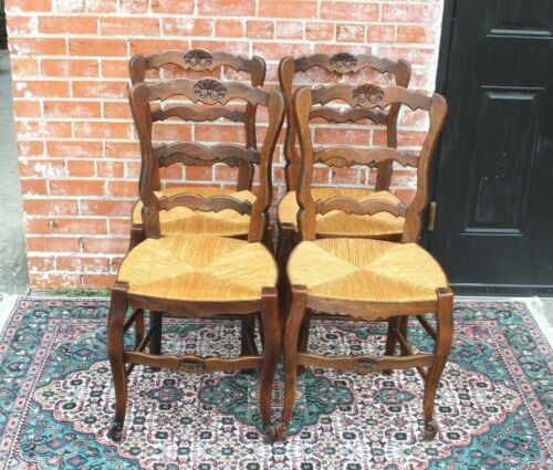 Set of 4 French Antique Louis XV Oak Rush Seat Chairs