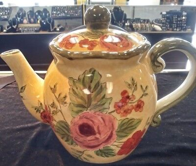 TUSCAN COUNTRY LOOK TEAPOT WITH FLOWERS MADE IN CHINA
