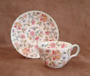 Minton - Haddon Hall - Green Edge - Tea Cup and Saucer - Excellent