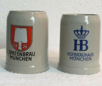 2 German Beer Stein Mug 0.5 Liter Spaten Brau Munchun Hofbrauhaus Munchen