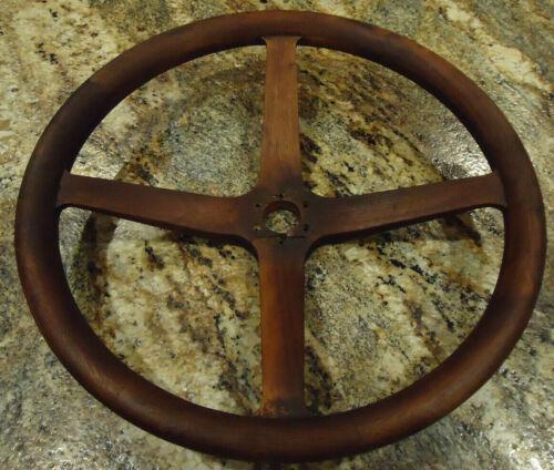 """Antique Wood Boat Steering Wheel 17"""" 1900"""