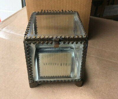 Pottery Barn Elaine Glass Jewelry Small Display Box NEW Mirrored Antique Brass - Glass Mirror Box