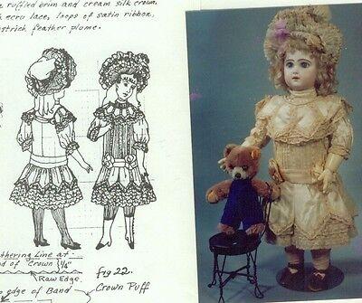 "17-18&19-20""ANTIQUE FRENCH BEBE DOLL@1885 LOW-WAIST DRESS&BONNET PATTERN/GERMAN"