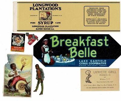 Lot 7 Pcs Old African American Ephemera Labels Scraps Trade Cards Black Maids