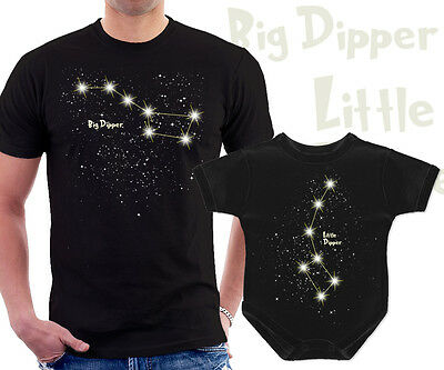 Big Dipper Little Dipper matchig t shirts set for dad and baby constellation
