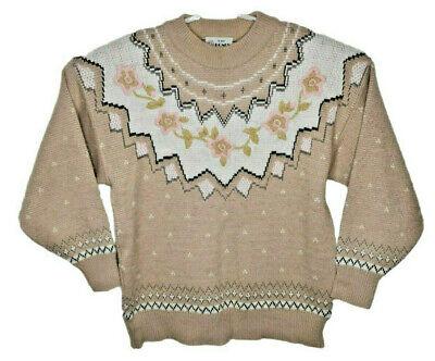 80s Sweatshirts, Sweaters, Vests | Women Vintage R-Jay Honey Embroidered Knit Floral Grandma Style Pullover Size Med 14 $25.99 AT vintagedancer.com