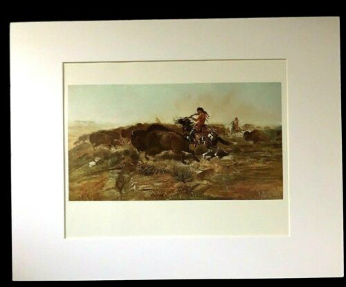 """Charles M Russell """"Wild Meat For Wild Men"""" 11 x 14 Matted Western Print"""
