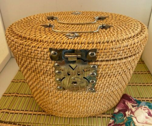 Asian Wicker Tea Caddy Handbag Basket  Red Fabric Insert Metal Koi Fish Closure