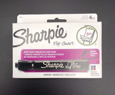 Sharpie Flip Chart Markers Bullet Tip Four Color Set New Black Green Blue Red