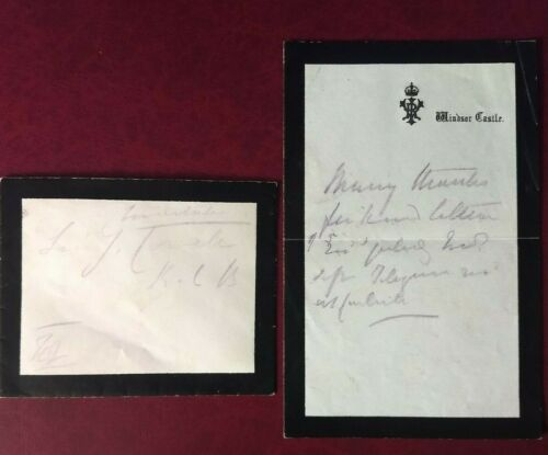 Queen Victoria handwritten thank you letter + envelope sent from Windsor Castle