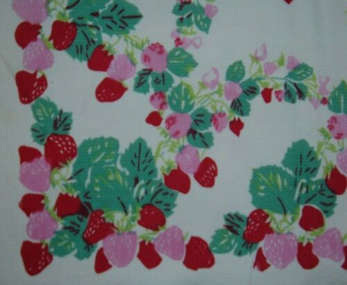 VINTAGE TABLECLOTH RED STRAWBERRIES