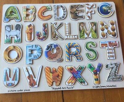 Melissa And Doug Alphabet Art Wooden Children's Puzzle (26 pcs) Alphabet Art Puzzle