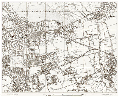 Barking, Ilford, Forest Gate old Map 1888 Gtr London #21