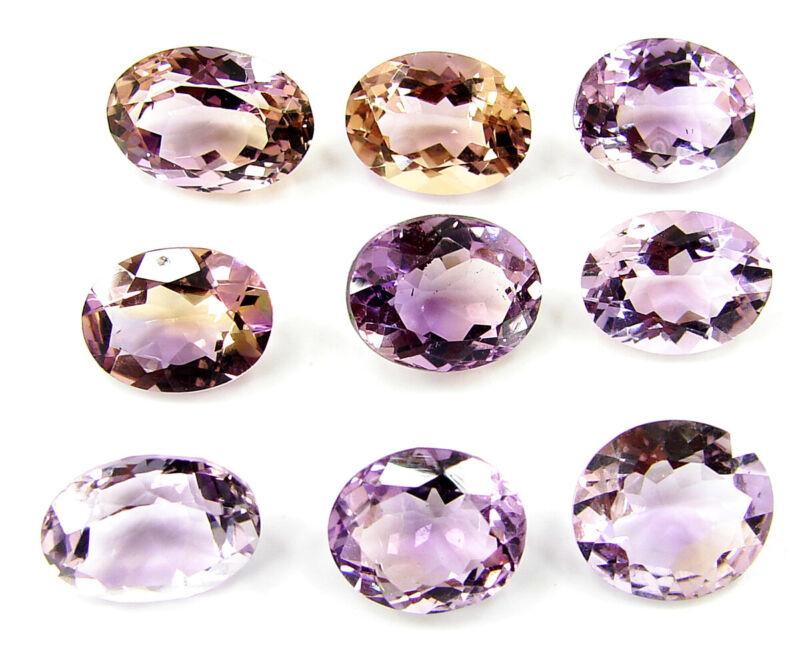 36.15 Ct Natural Bi-Color Ametrine Oval Cut 11-13 mm Gemstone 9 Pcs Lot - 45031