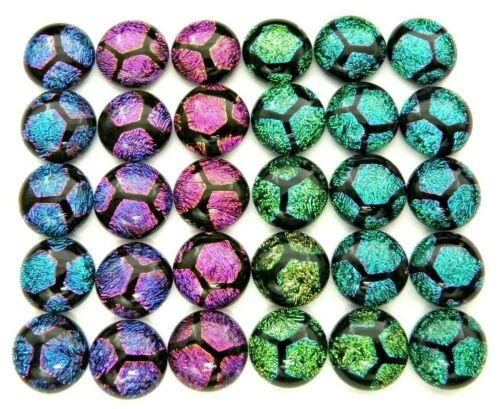 Lot 30 pcs round gorgeous DICHROIC earrings bracelet FUSED GLASS (i13) CABOCHONS