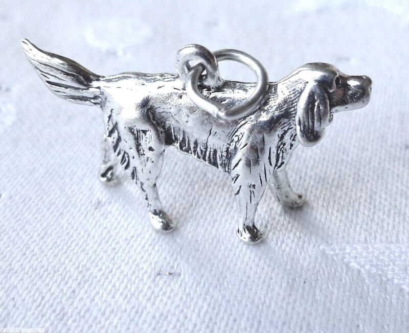 .925 Sterling Silver 3D Irish Setter Dog Charm with jump ring