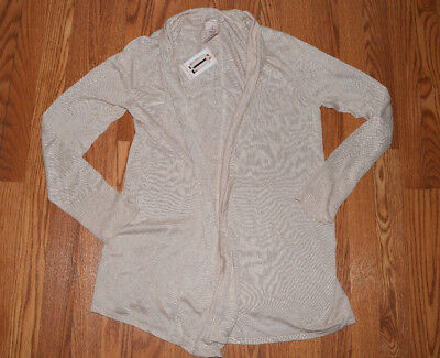 62ffc00354 NWT Womens Philosophy Oatmeal L/S Light Weight Open Front Sweater Cardigan L