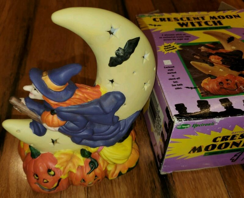 Light up Ceramic Witch and Moon  Bat Halloween Decor Unique hand painted w box
