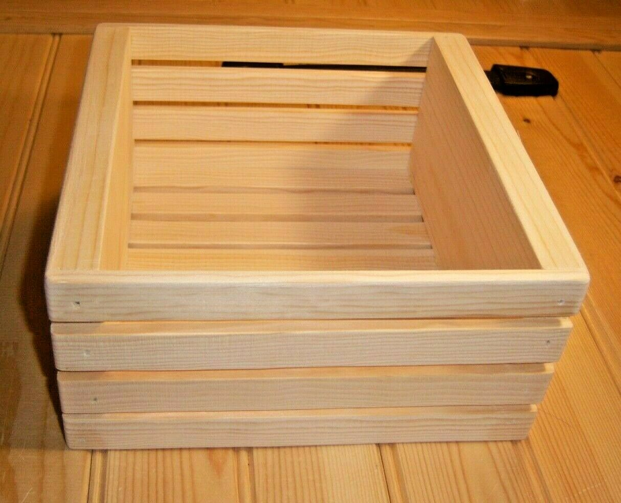 """Handmade Wooden Crate 8"""" Long X 8 1/4"""" Wide X 3 3/4"""" High Gift Box, Storage"""