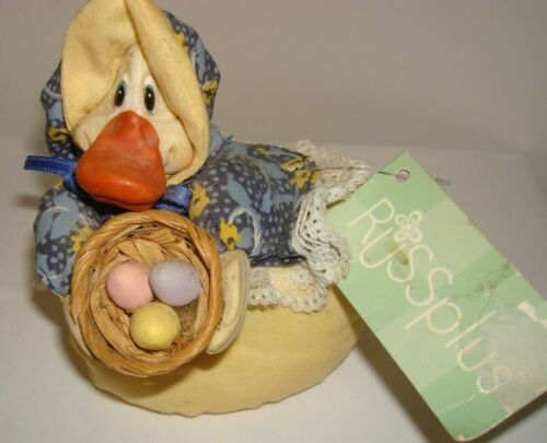 Yellow Easter Duck Multi-Color Blouse Lace Basket Eggs Russplus Collectibles