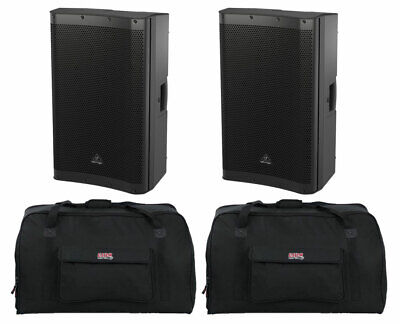 "2x Behringer DR115DSP Active 1400W 15"" PA Speaker Monitors + 2x Gator Tote Bags"