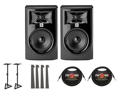 - 2x JBL 305P MkII Active Speaker Powered Studio Monitor +Stands +MoPADs +Cables